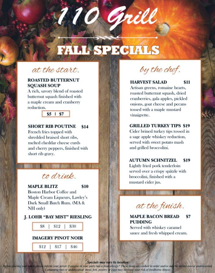 110 grill fall specials