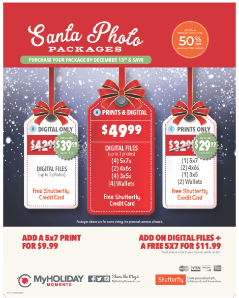 Santa Photo Price Sheet