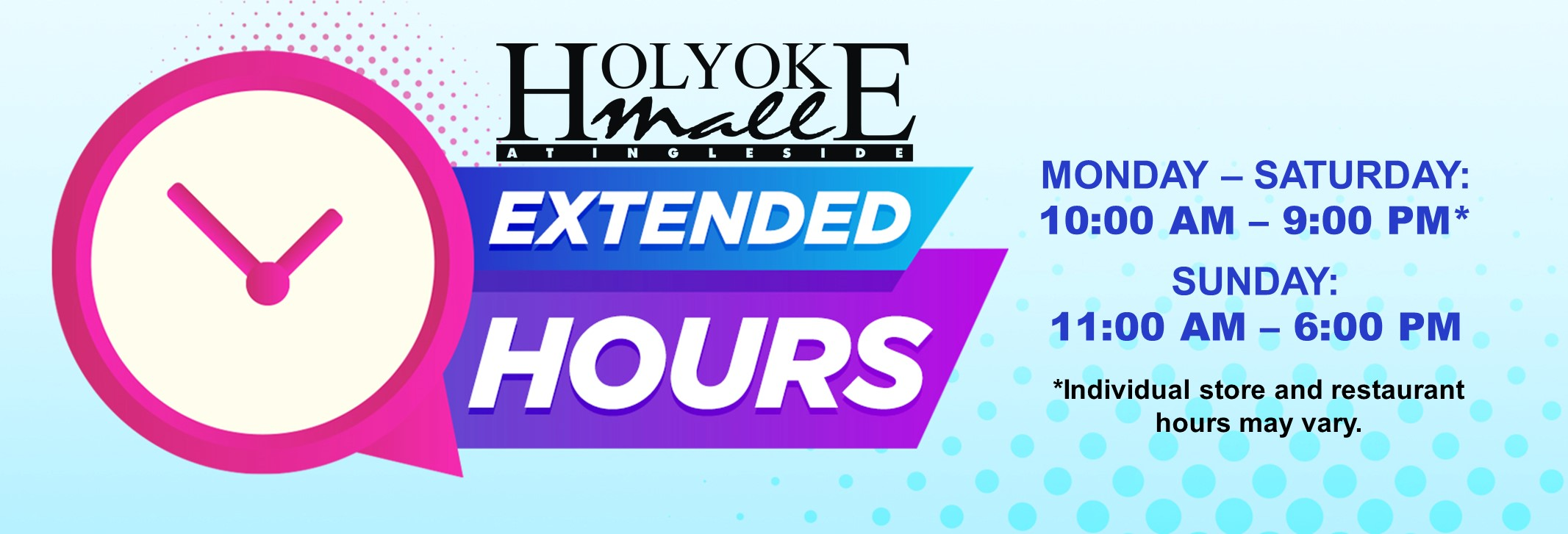 Holyoke Mall extended hours Blog Post Feature Image