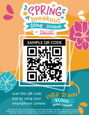 Revised Springbreakout sign with Fake QR Code Holyoke